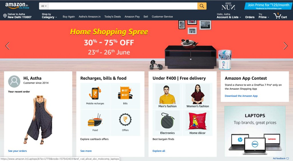 Amazons customized home page