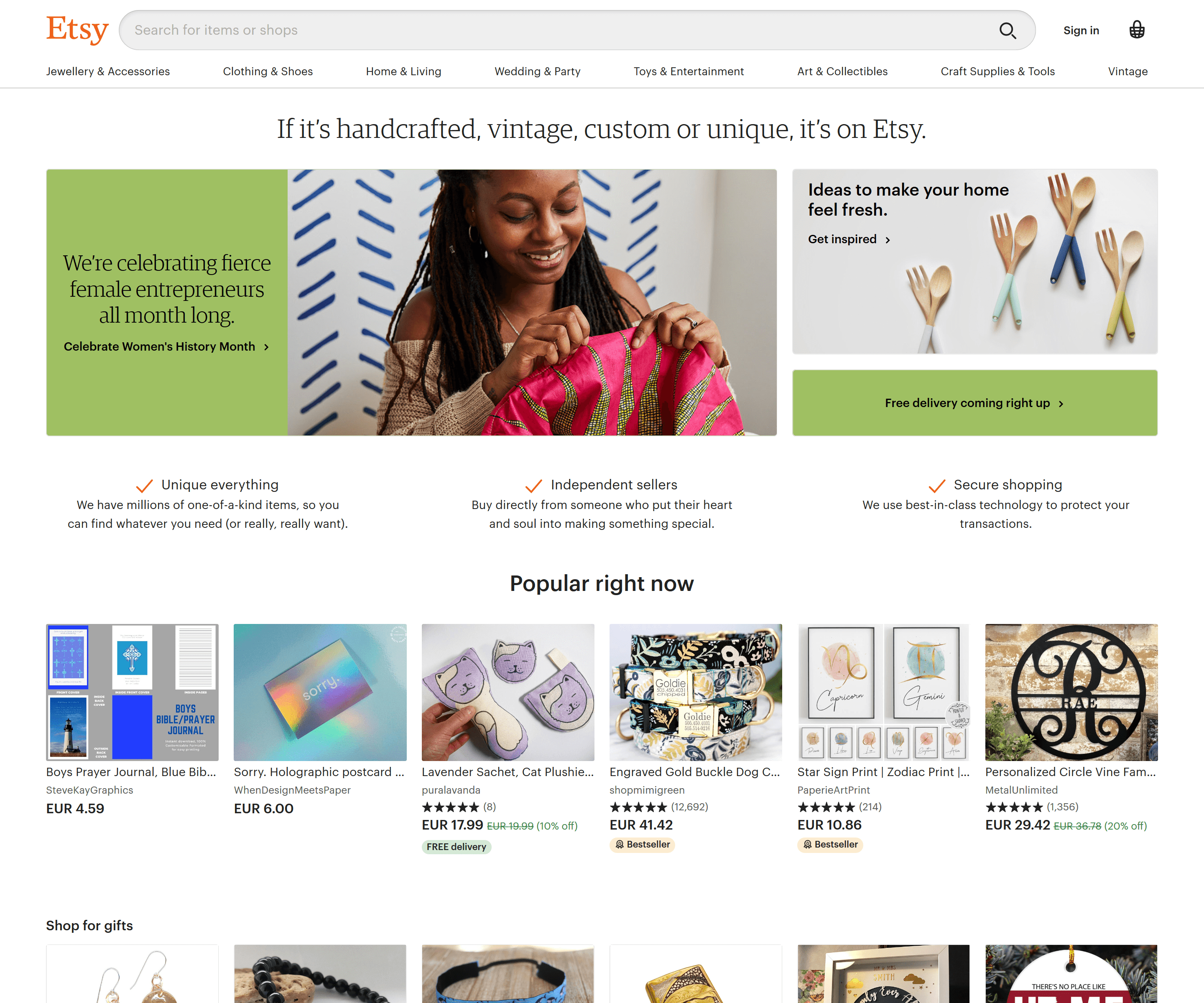Etsy product recommendation